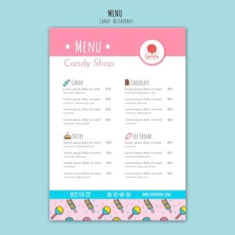 Modèle de magasin de bonbons pour le menu