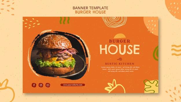 Modèle de maison de burger de bannière