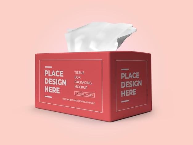 Modèle de maquette 3d d'emballage de boîte de mouchoirs psd