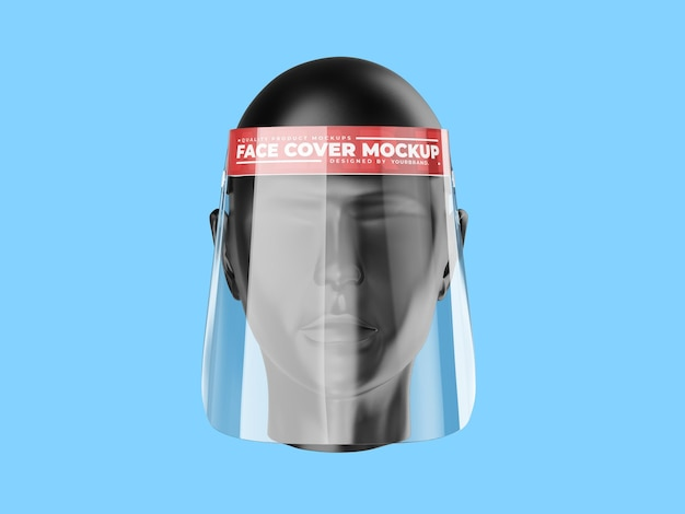 Modèle de maquette de bouclier facial de virus corona