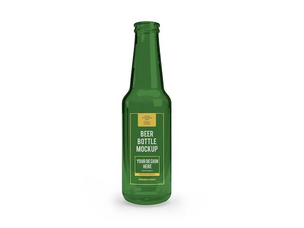 Modèle de maquette de bouteille de bière réaliste isolé