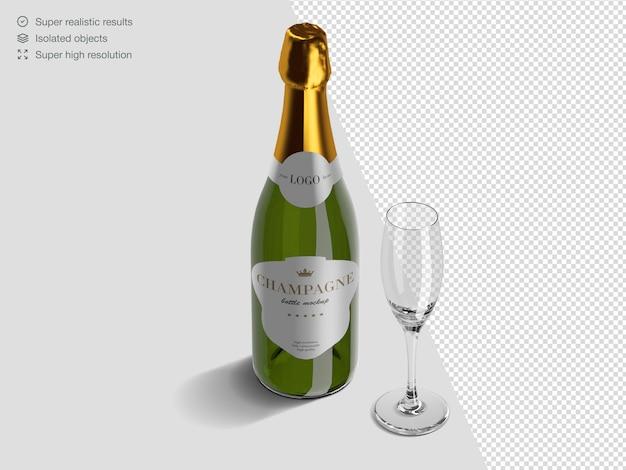 Modèle de maquette de bouteille de champagne isométrique réaliste avec verre