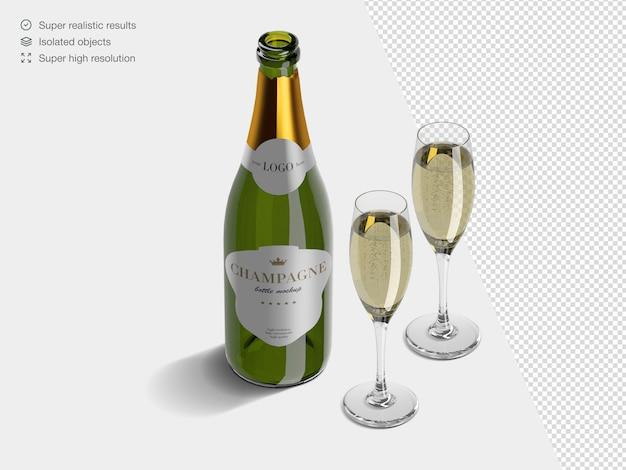 Modèle de maquette de bouteille de champagne isométrique réaliste avec des verres pleins de champagne