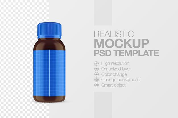 Modèle de maquette de bouteille de sirop médical réaliste