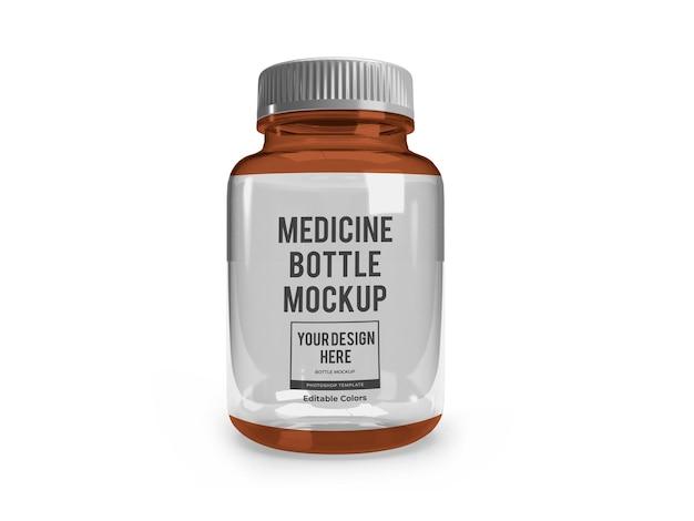 Modèle de maquette de bouteille en verre de médecine réaliste isolé