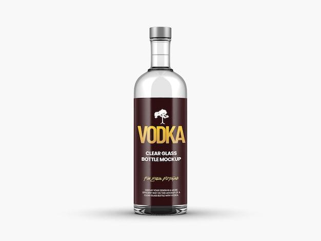 Modèle de maquette de bouteille de vodka en verre transparent