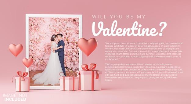 Modèle de maquette de cadre photo carte d'invitation de mariage saint valentin coeur d'amour
