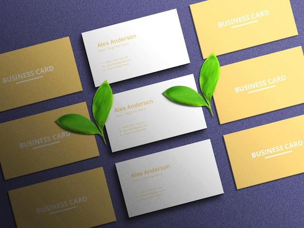 Modèle de maquette de carte de visite minimaliste sur fond bleu avec effet en relief et en creux