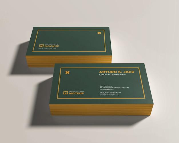 Modèle de maquette de deux cartes de visite empilés
