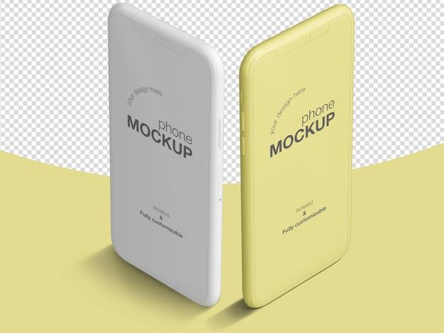 Modèle de maquette d'écran de téléphone isométrique propre