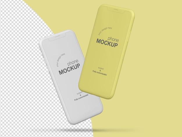 Modèle de maquette d'écran de téléphones flottants mimimalistes