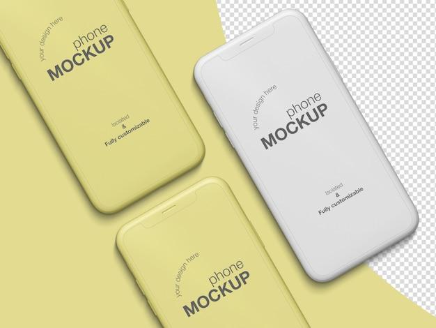 Modèle de maquette d'écran de téléphones topview mimimalistic