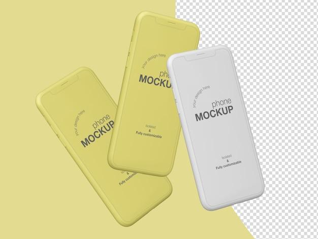 Modèle de maquette d'écran de trois téléphones flottants mimimalistes