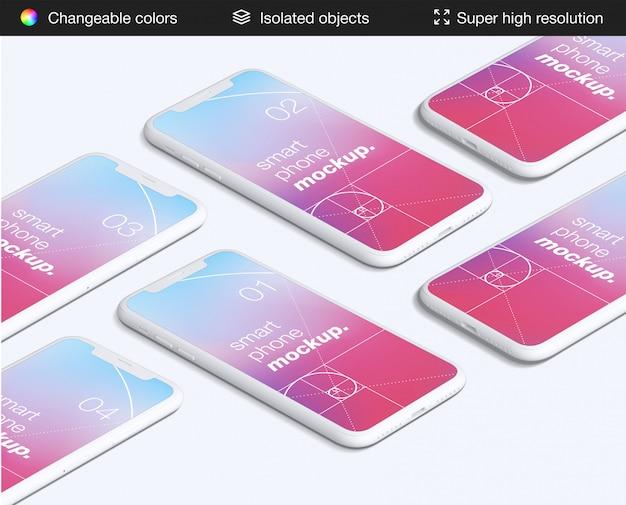 Modèle de maquette d'écrans d'application pour smartphone à angle élevé