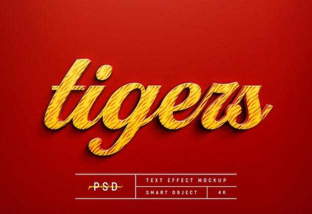 Modèle de maquette d'effet de style de texte rouge tigre personnalisable