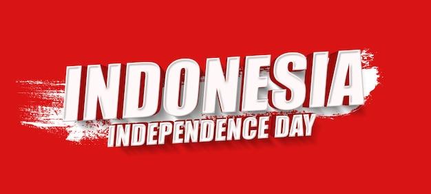 Modèle de maquette d'effet de texte 3d de la fête de l'indépendance de l'indonésie