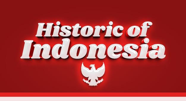Modèle de maquette d'effet de texte 3d historique de l'indonésie