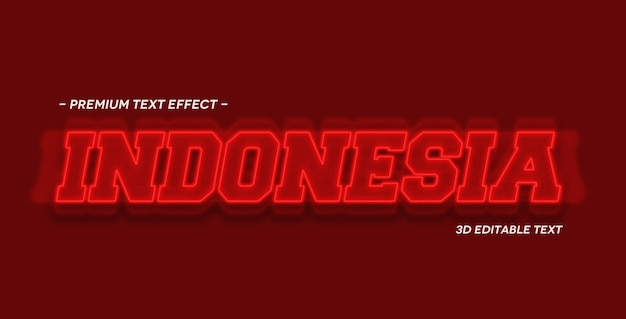 Modèle de maquette d'effet de texte 3d en indonésie