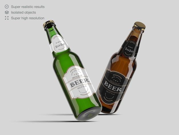 Modèle de maquette d'étiquette de bouteille de bière en verre marron et vert