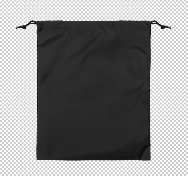 Modèle de maquette de gymsack vide noir sur fond transparent.