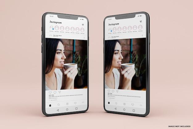 Modèle de maquette d'interface mobile instagram