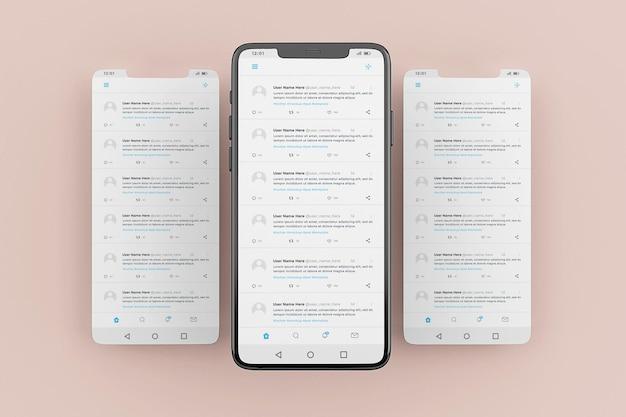 Modèle de maquette d'interface mobile twitter