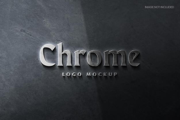 Modèle de maquette de logo chrome