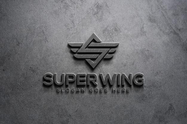 Modèle de maquette de logo de mur 3d