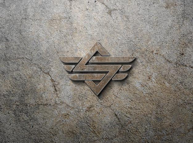 Modèle de maquette de logo de mur rouillé 3d