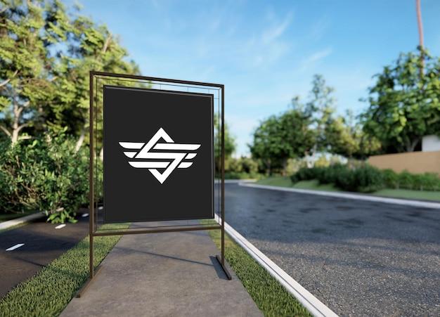 Modèle de maquette de logo de panneau d'affichage
