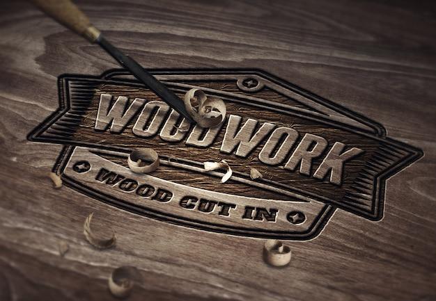 Modèle de maquette de logo ou de texte - travail de coupe de bois