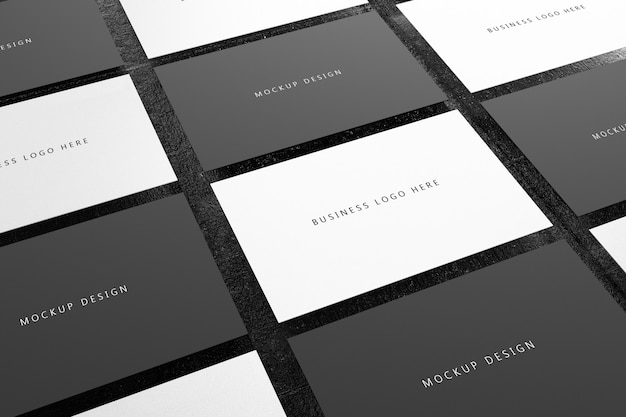 Modèle de maquette de papier de carte de visite horizontale noir et blanc avec couvercle d'espace vide