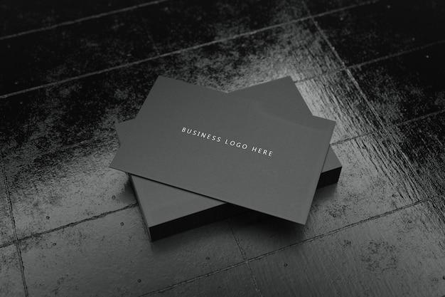 Modèle de maquette de papier de carte de visite horizontale noire avec couvercle d'espace vide