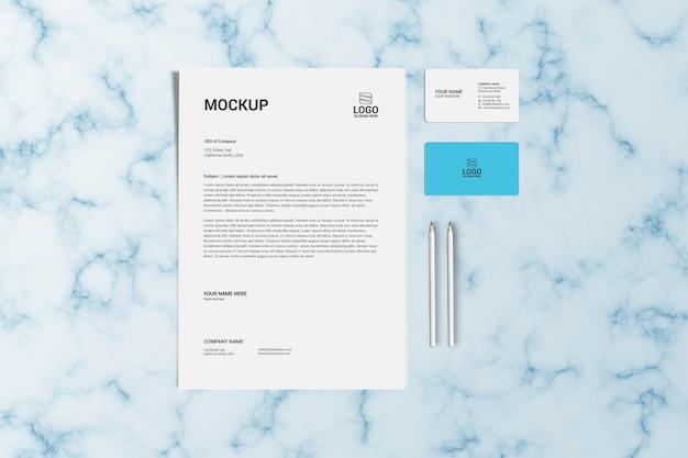 Modèle de maquette de papier à en-tête et de carte de visite