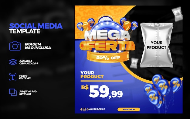 Modèle de maquette de publication sur les médias sociaux pour la promotion de l'offre blue mega