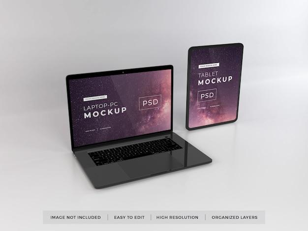 Modèle de maquette réaliste pour ordinateur portable et tablette