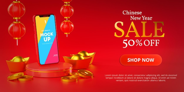 Modèle De Maquette De Téléphone Bannière De Vente De Promotion Du Nouvel An Chinois PSD Premium