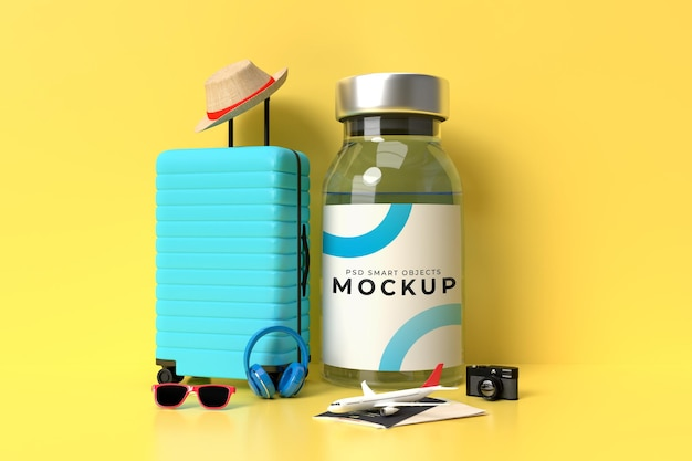 Modèle de maquette de vaccins covid19 avec accessoires de voyage pour la clinique hospitalière médicale