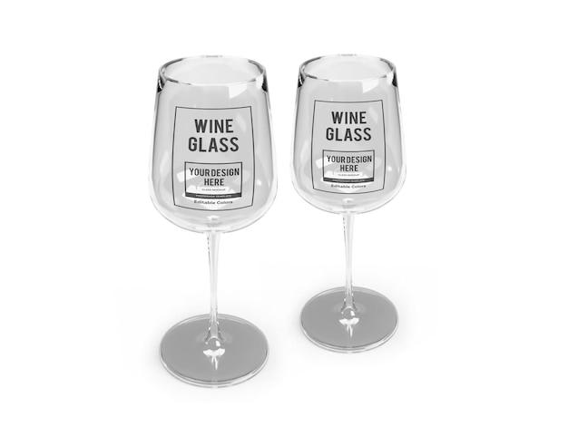 Modèle de maquette de verre à vin réaliste isolé