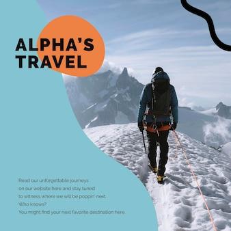 Modèle de marketing de montagne de voyage publicité psd sur les réseaux sociaux pour les agences