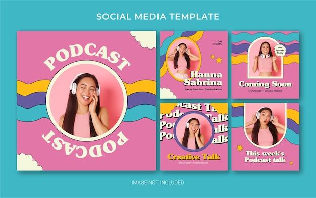 Modèle de marque de médias sociaux instagram pour podcast avec style rétro