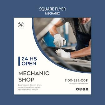 Modèle de mécanicien de flyer carré
