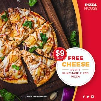Modèle de média social bannière offre spéciale de réduction de pizza