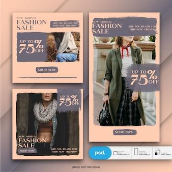Modèle de média social de bannière web de mode