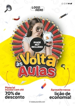 Modèle de médias sociaux a4 retour à l'école au brésil profitez de notre leçon d'économie