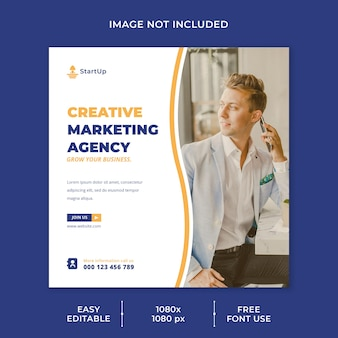Modèle de médias sociaux d'agence de marketing créatif