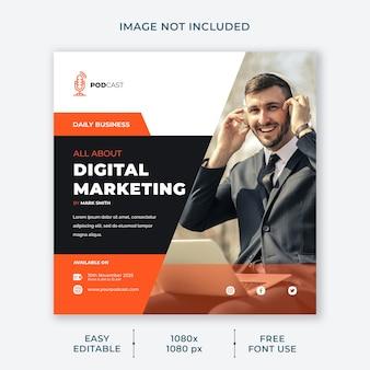 Modèle de médias sociaux de canal de marketing numérique de podcast
