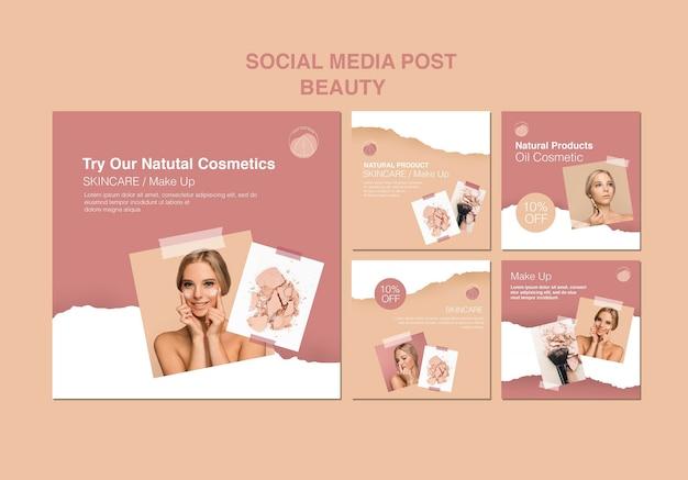 Modèle de médias sociaux de concept de beauté