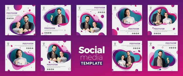 Modèle de médias sociaux concept de positivisme