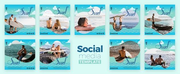 Modèle de médias sociaux de concept de surf